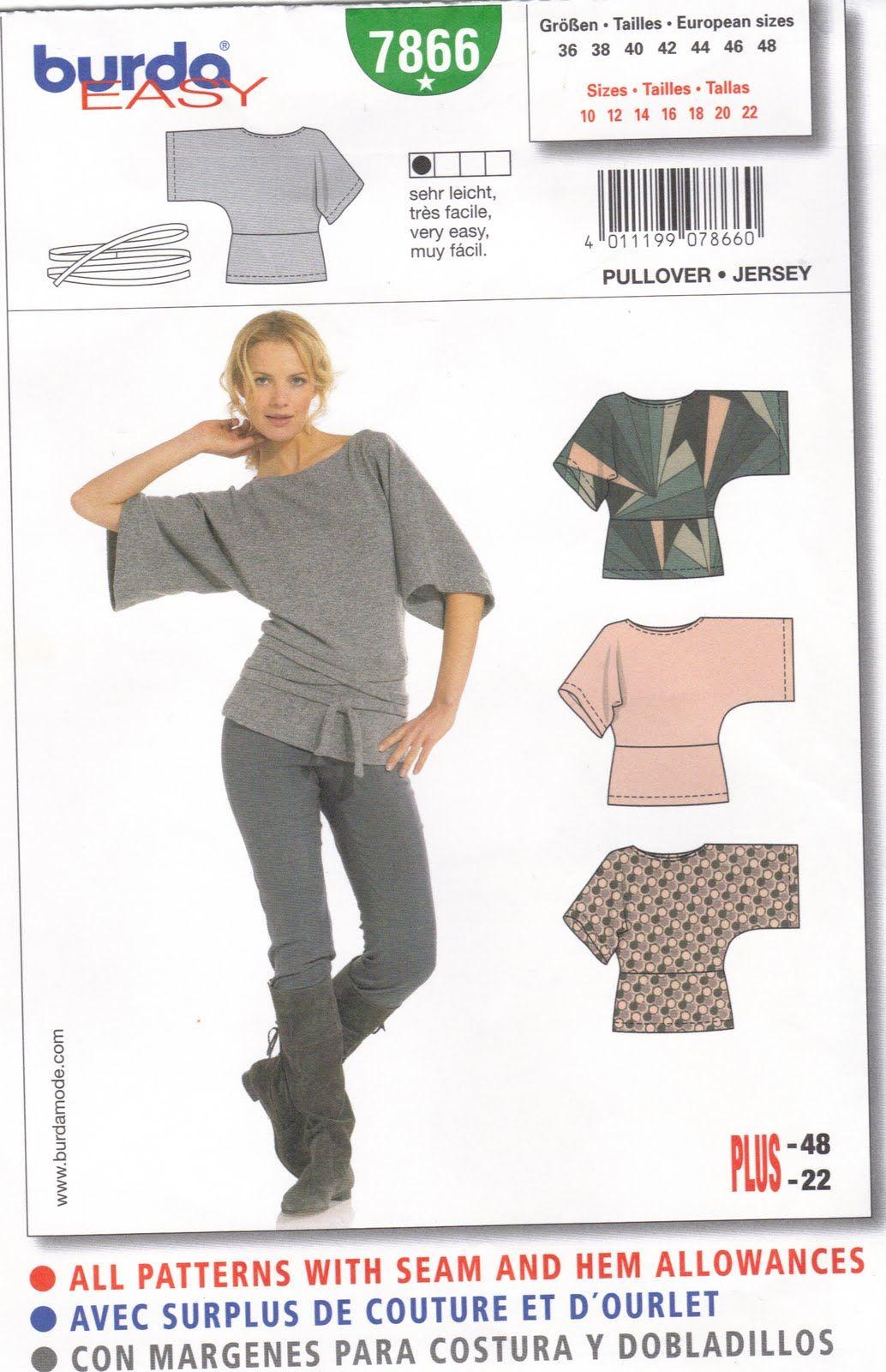Burda 7866 Top | Couture | Pinterest | Costura, Patrones y Blusas