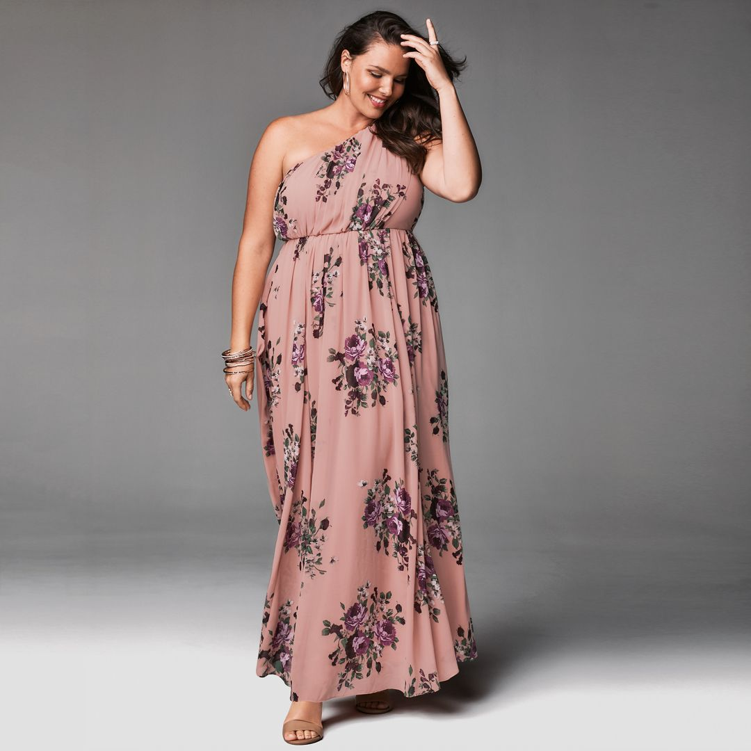 8889a8d72bfb Special Occasion Pink Floral One Shoulder Chiffon Gown in 2019 ...