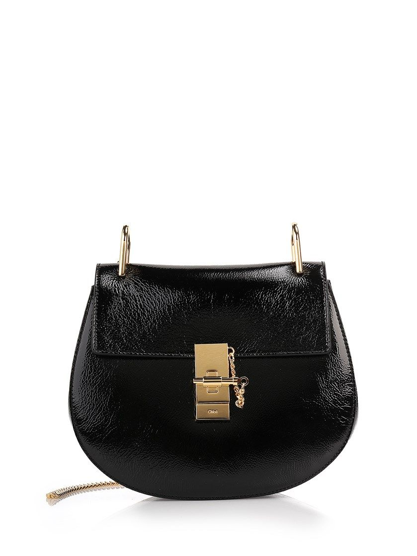 Black Patent Leather Drew Small Shoulder Bag By Chloè With Suede Lining