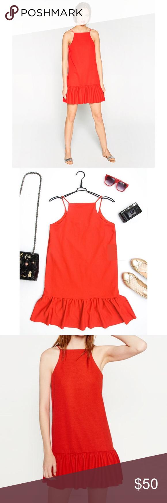 Zara ruffle hem red dress nwot s zara dresses ruffles and minis