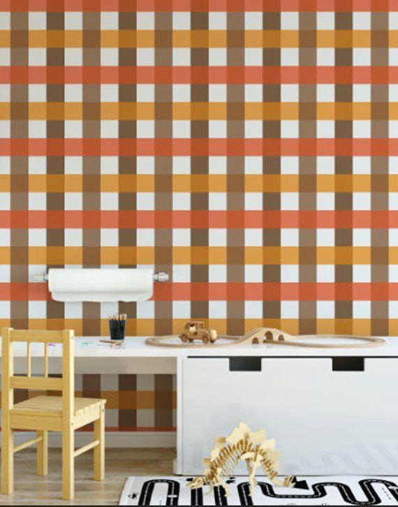 Fall Buffalo Plaid Removable Wallpaper Orange Geometric Etsy Removable Wallpaper Traditional Wallpaper Textured Walls