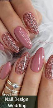 Nail Design Hochzeit glänzende Nägel ideal zum Valentinstag mit einem schönen…