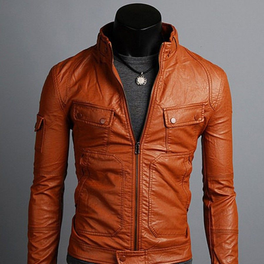 Leather jacket xs - Handmade Men Tan Brown Leather Jacket Flap Button Pocket With Big Front Pocket Xs Size Only Free Usa Delivery