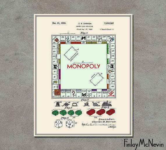 Monopoly patent fine art print poster colour blueprint or black monopoly patent fine art print poster colour blueprint or black and white malvernweather Choice Image