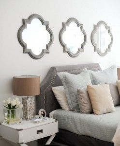 Mirror Above Bed Ideas Mirror Above Bed Clover Mirror Above Bed Three Clover Mirrors Above Headboard B Above Bed Decor Luxurious Bedrooms Wall Decor Bedroom