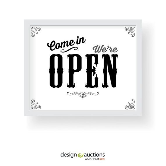 Come In We Are Open Sign Printable Instant By Designauctionsnow 5 00