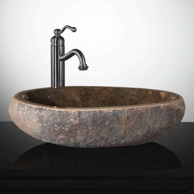 Mosaic Natural River Stone Vessel Sink Brown Onyx Bathroom