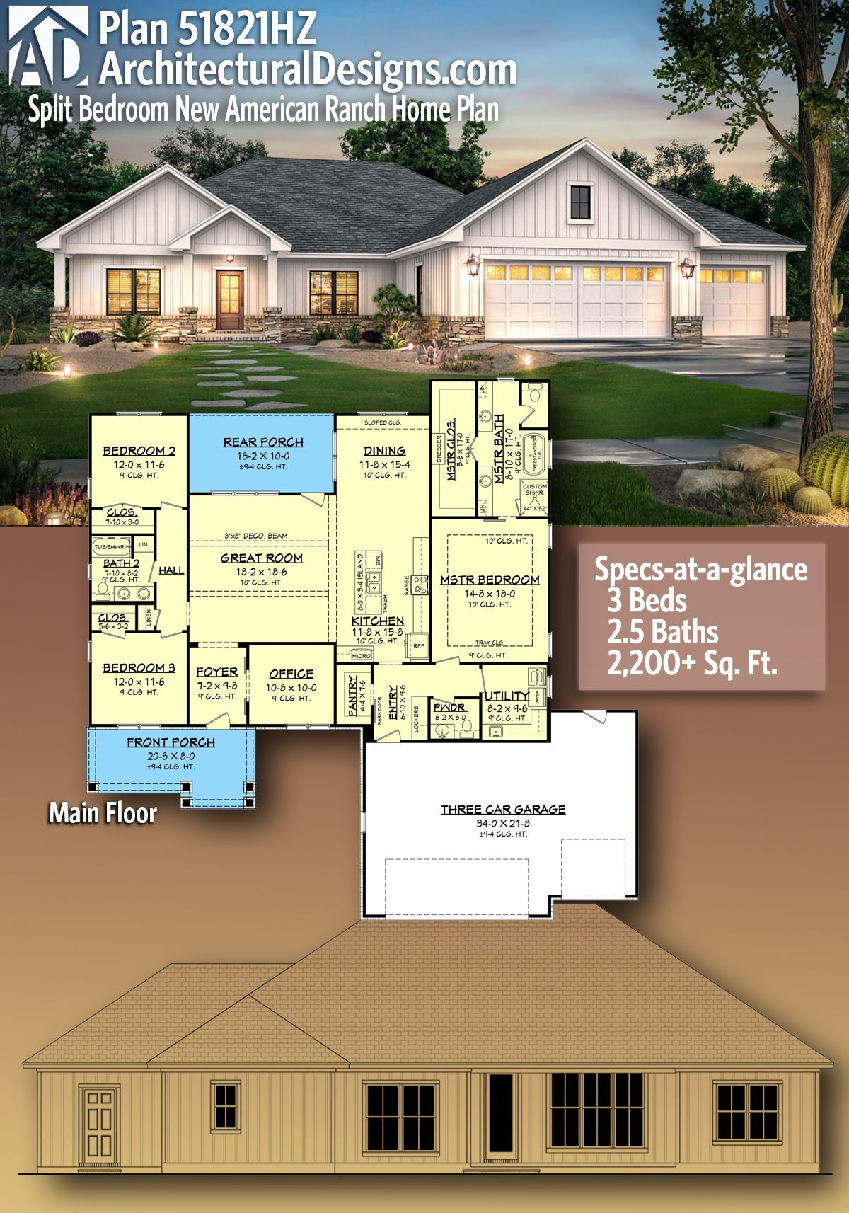 Plan 51821hz Split Bedroom New American Ranch Home Plan Dream House Plans Ranch House Ranch House Plan