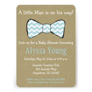 Little Man Bow Tie Baby Shower Invite