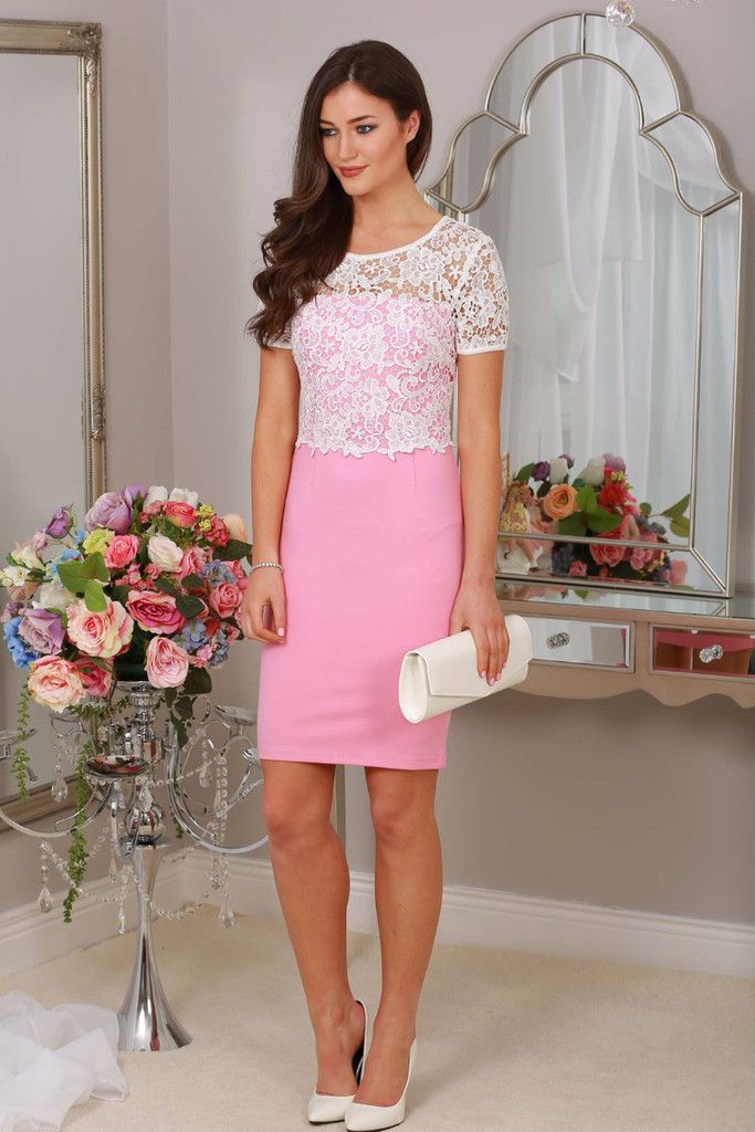 Midi Light Pink Dress Lace Overlay Sleeves Occasion Wear Races Wedding Guest