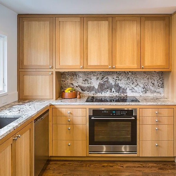Natural Wood Kitchen Cabinets Shaker Cabinets Modern House Credit