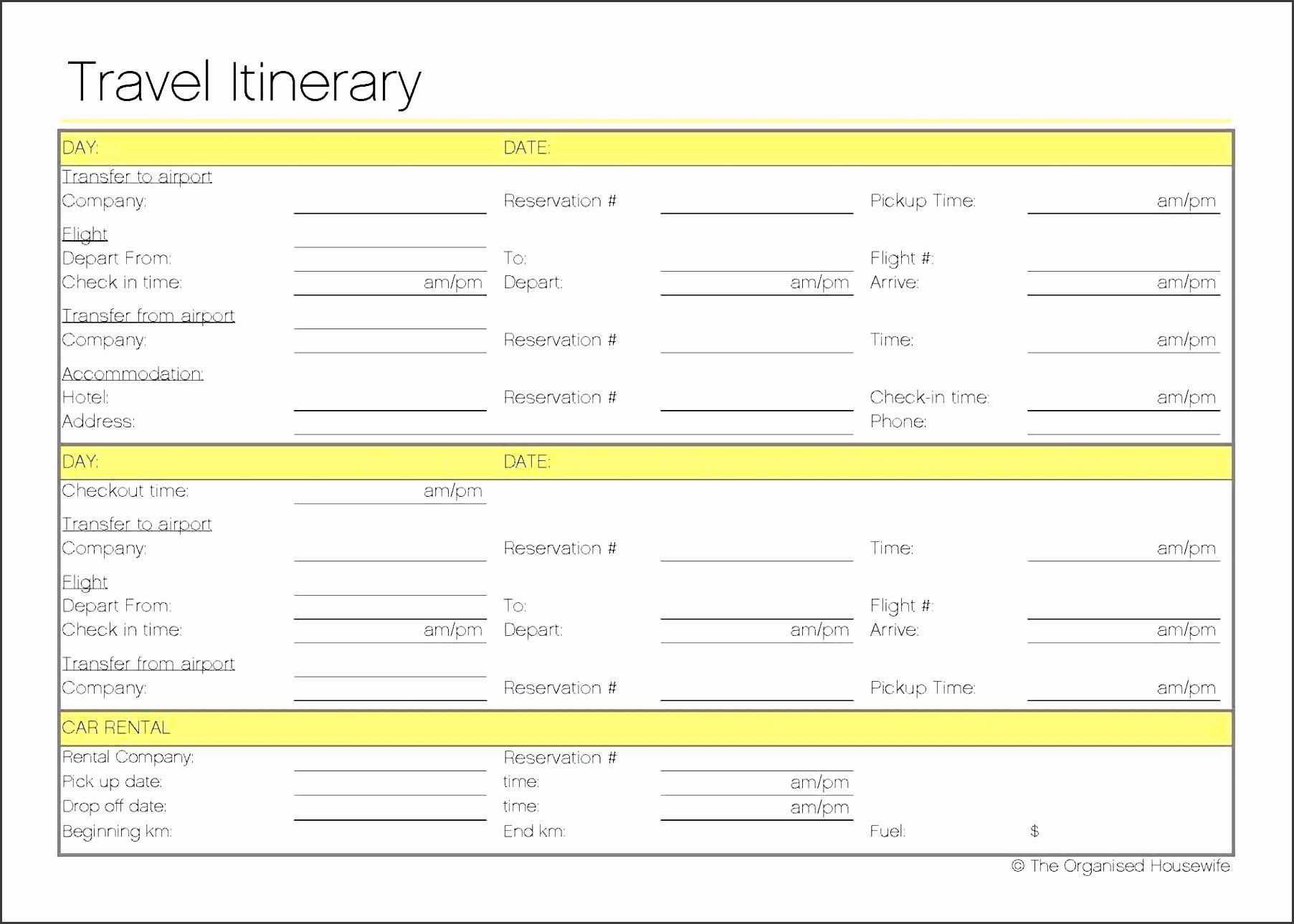 Trip Planner Template Excel Beautiful 4 Free Vacation ...