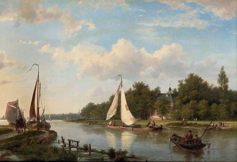 Hermanus Koekkoek (sr.) (Along the river on a sunny afternoon)