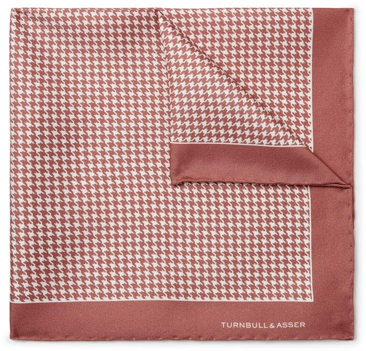 Turnbull & Asser - Puppytooth-Print Silk-Twill Pocket Square - Men - Pink #pocketsquares