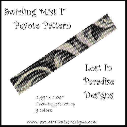 Peyote Bracelet Pattern Swirling Mist 1in (Buy 2 get 1