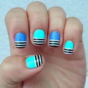 barry m half stripes  nails easy nail art nail designs