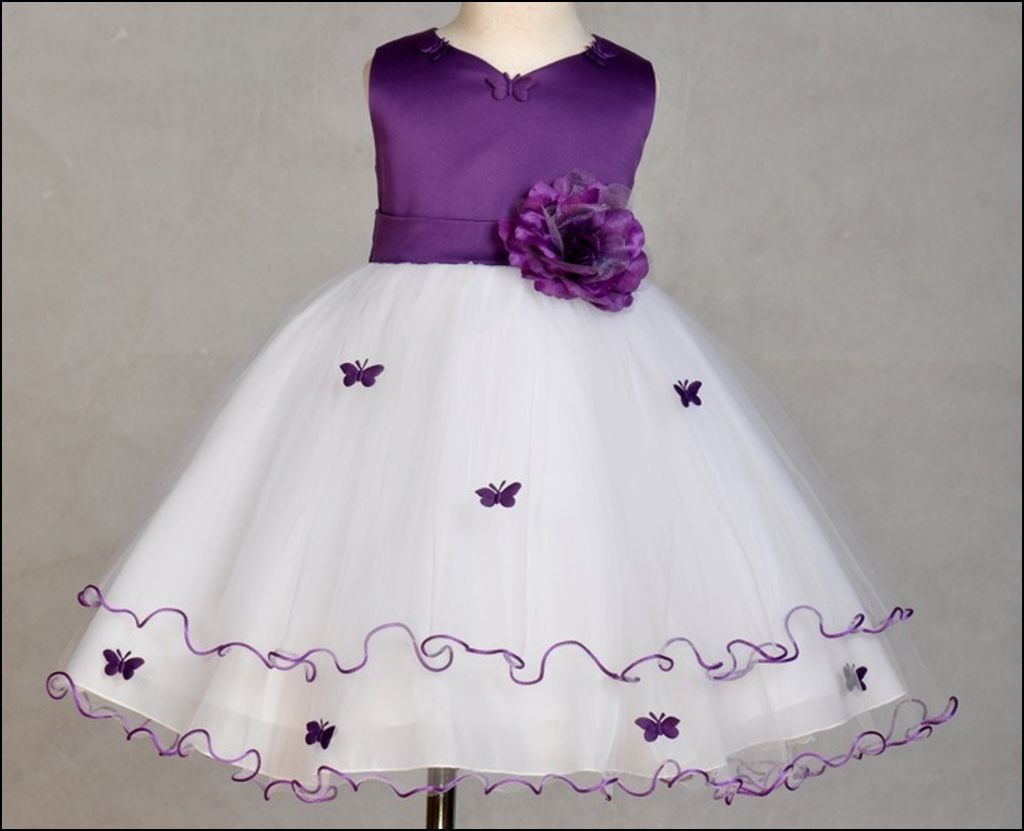 White And Purple Flower Girl Dress Dresses And Gowns Ideas