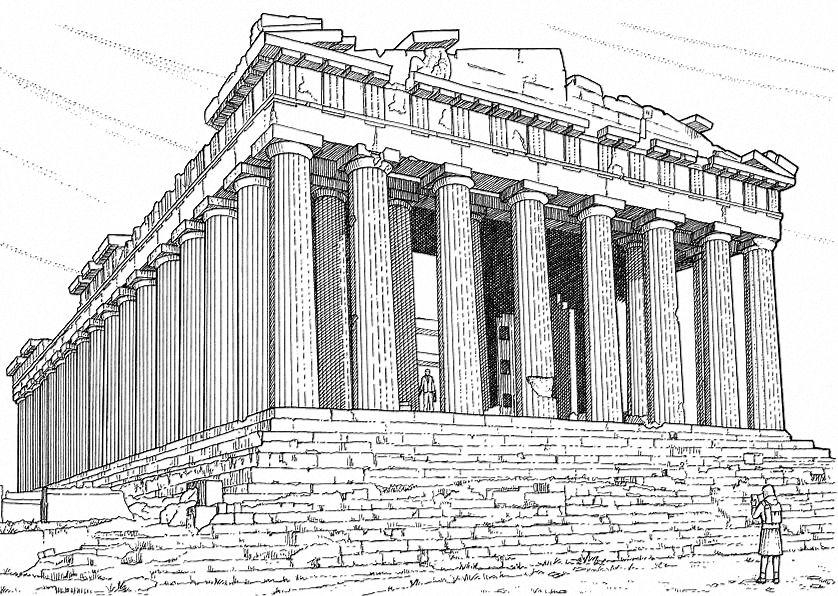 Parthenon Ancient Greek Architecture Greece Drawing Parthenon