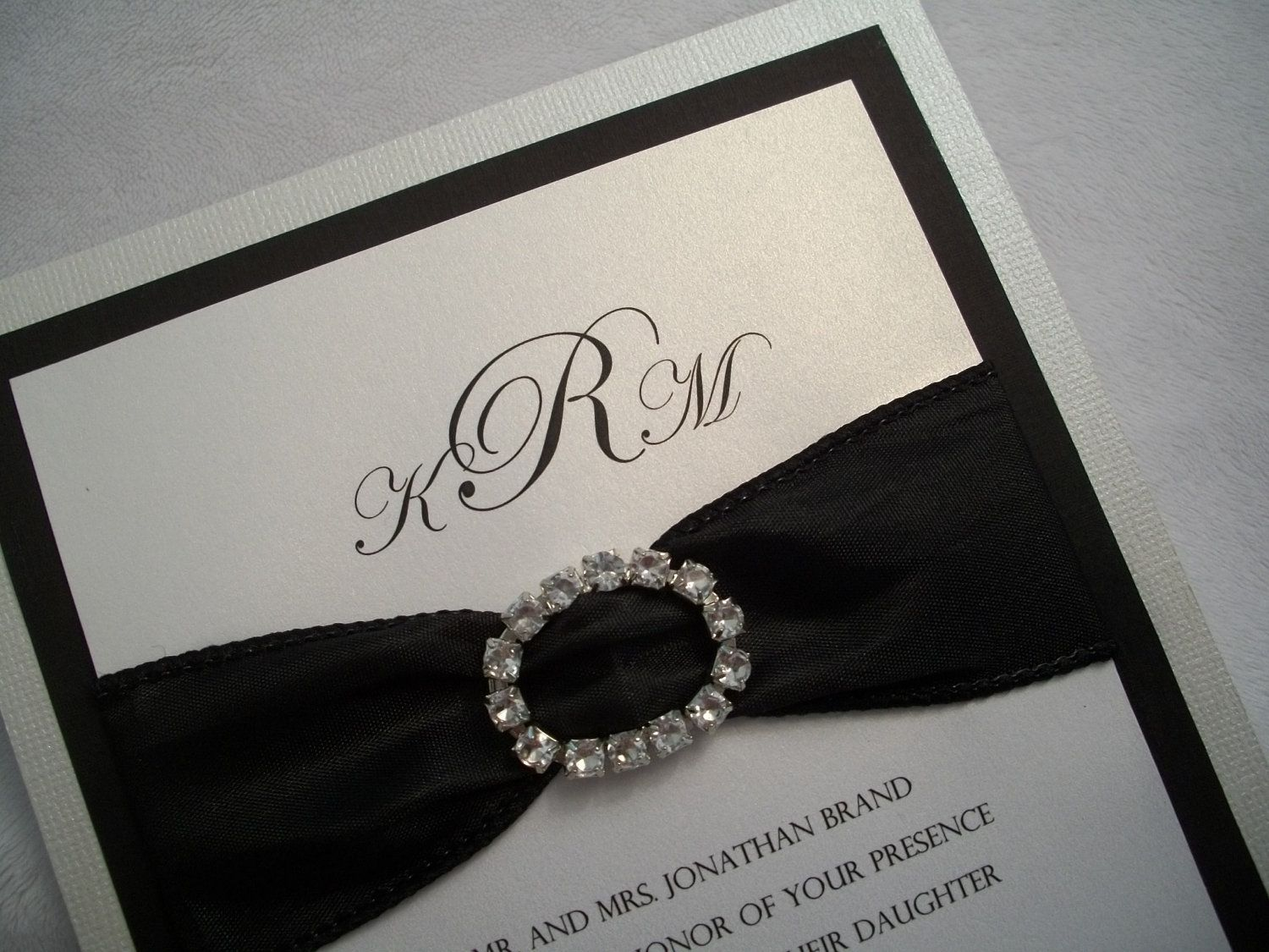 Pearl White And Black Wedding Invitation With Crystal Buckle Satin Ribbon 6 50