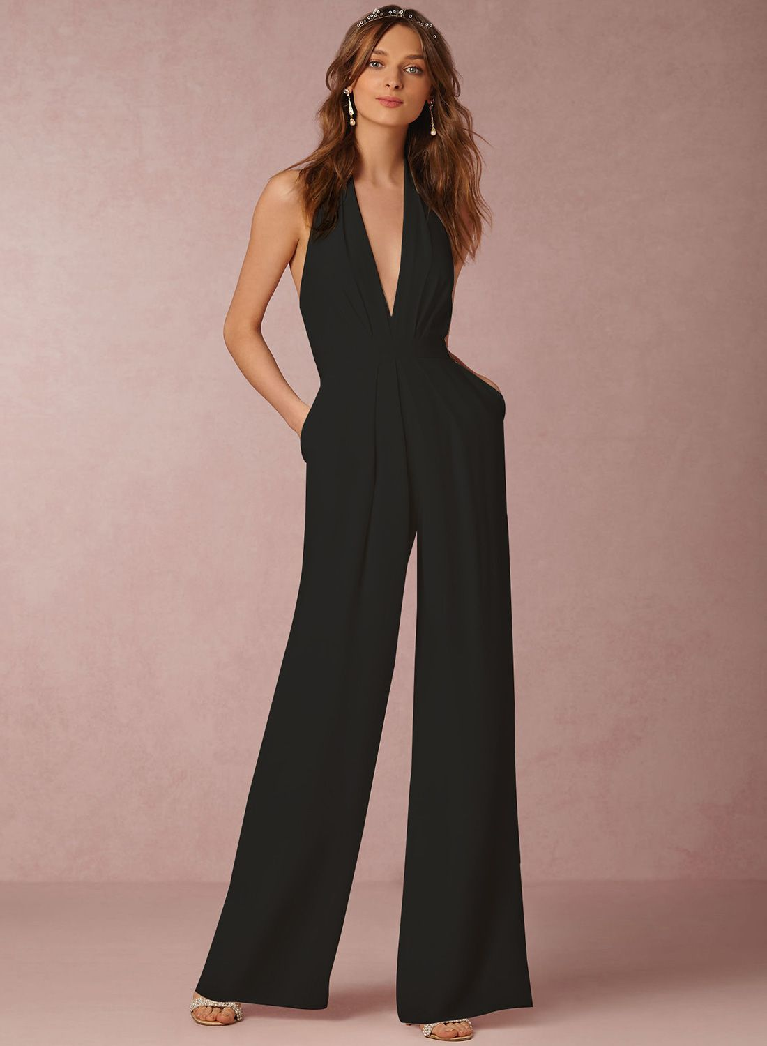 42ac01b3fb41 Fashion Halter V Neck Backless Wide-Leg Jumpsuit