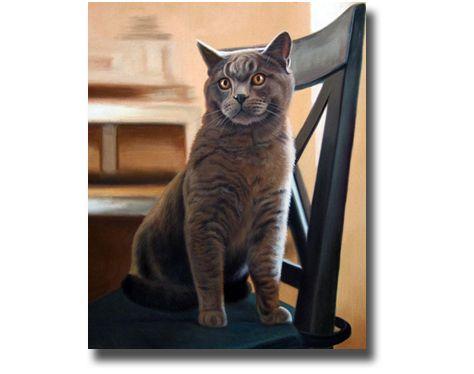 Katze malen lassen tierportrait katzengem lde tiergem lde tier portrait l auf - Foto auf leinwand malen ...
