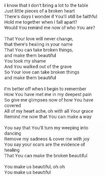 You make it beautiful christian song