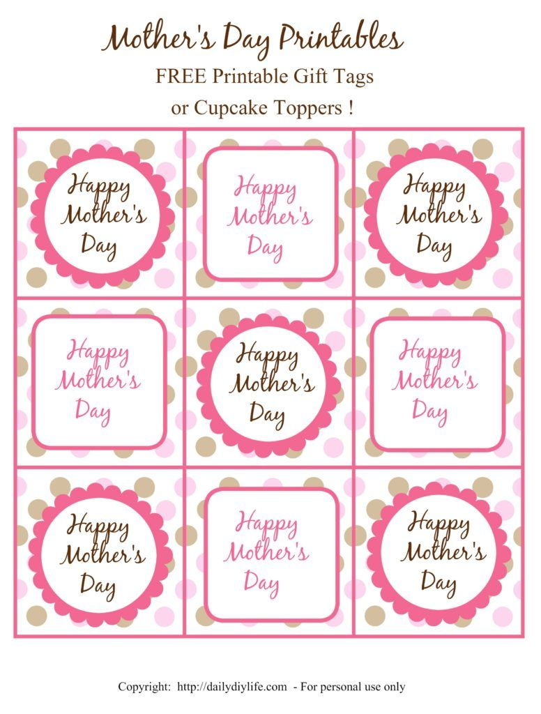Mother\'s Day FREE Printable Gift Tags or Cupcake Toppers | Topeers ...