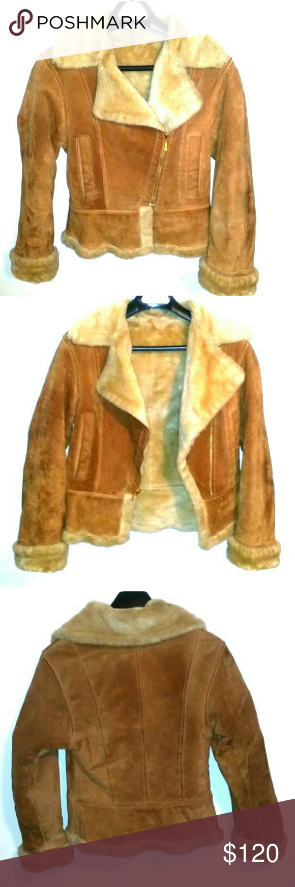 """Genuine 💯% Suade Leather Jacket? Genuine💯% Suade Leather Jacket❤ Sleeves unfolded 24"""" 📏Chest Armpit to Armpit 17""""📏Shoulder 17""""📏Length 25""""📏 Jackets & Coats"""