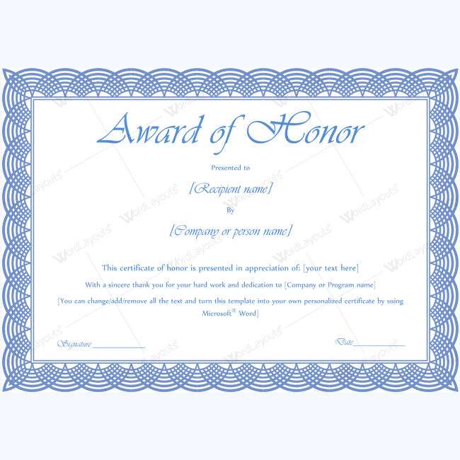 Award of honor 10 certificate template and microsoft word honor award certificate template honortemplate certificate honorcertificate honoraward yelopaper Choice Image