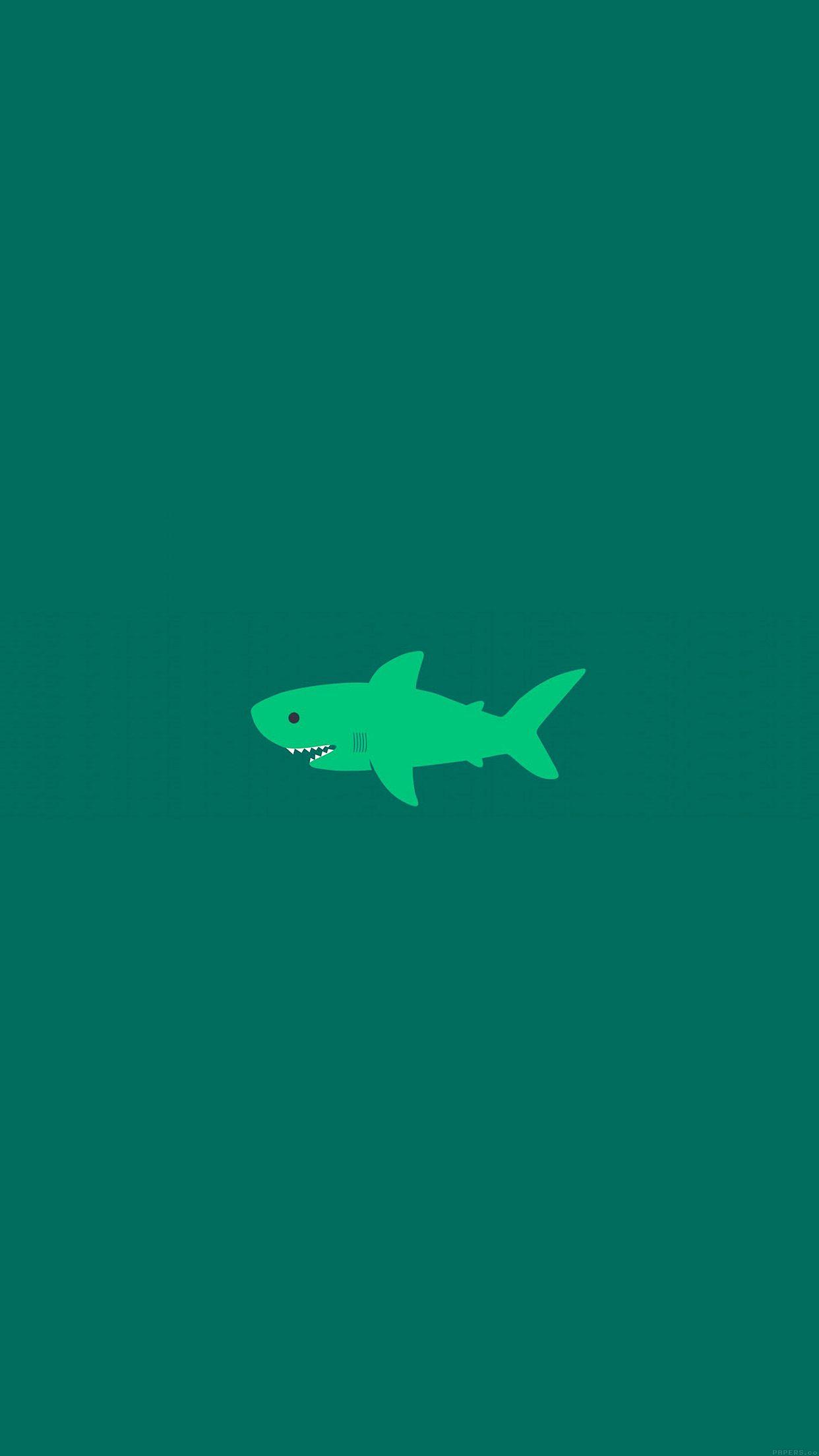 Nice Little Small Cute Shark Green Minimal Iphone6 Plus Wallpaper