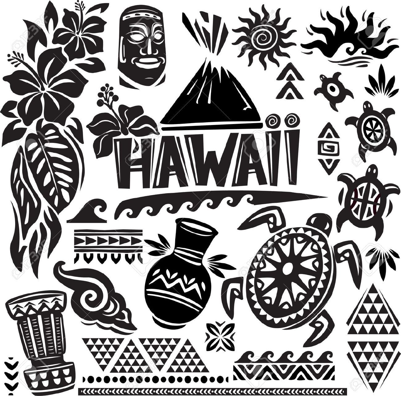 Hawaii Set Hawaiian Tribal Clipart