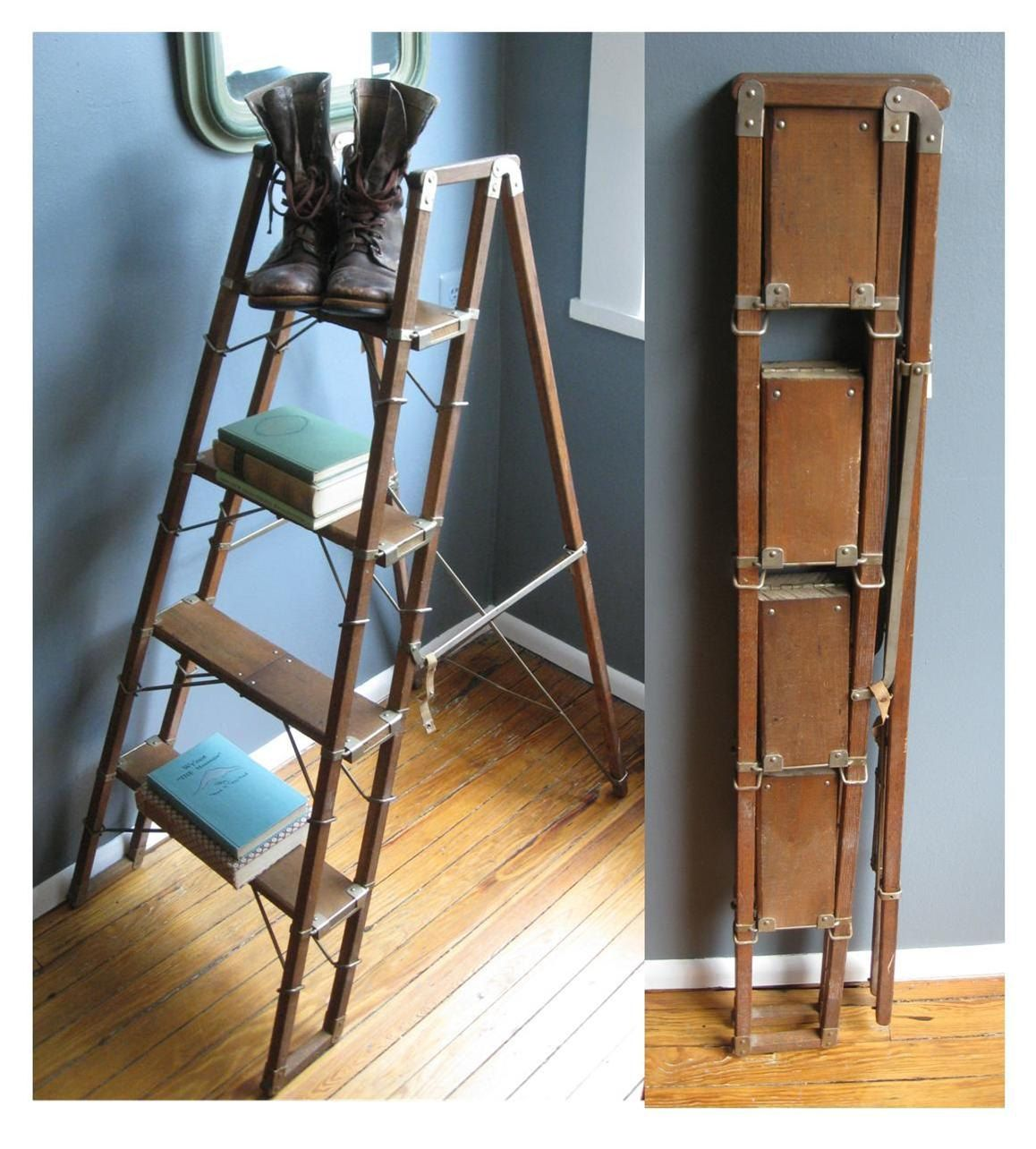 Best Library Ready Rare Vintage Folding Ladder Ladder Decor 400 x 300