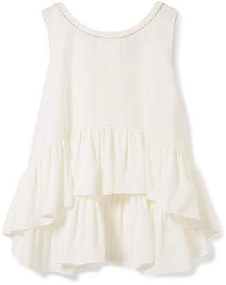 da54a3ea31ce26 Fendi Grosgrain-trimmed Ruffled Cotton-poplin Top - White. Ruffle Tops -  ShopStyle ...