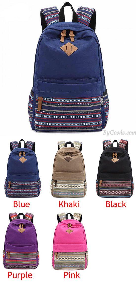 c19ebcae15 New Folk Striped College Canvas Backpack  folk  striped  backpack  college   school  canvas  bag