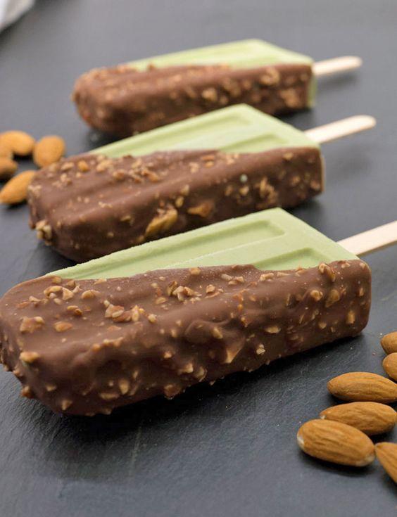 (2921) Matcha (Green Tea) Ice Cream Bars with Magic Chocolate and Toasted Almond…