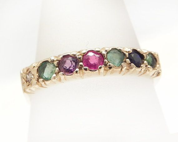 Dearest Ring Vintage Gold Dearest Eternity Ring Engagement Ring Diamond Wedding Band Emerald Amethyst Ruby Sapphire Romantic Jewelry Size 8