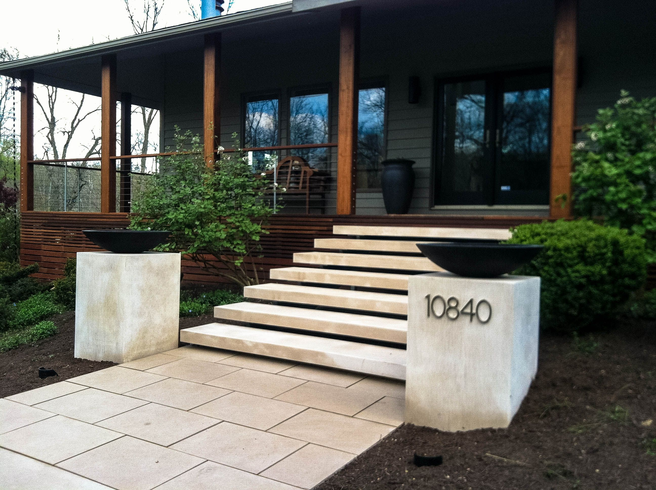Floating limestone stairs pinteres for Exterior stairs