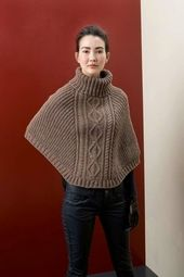 Cape in LANGYARNS MILA, chainnette wool yarn with lovely blended colours FAM 238 #56