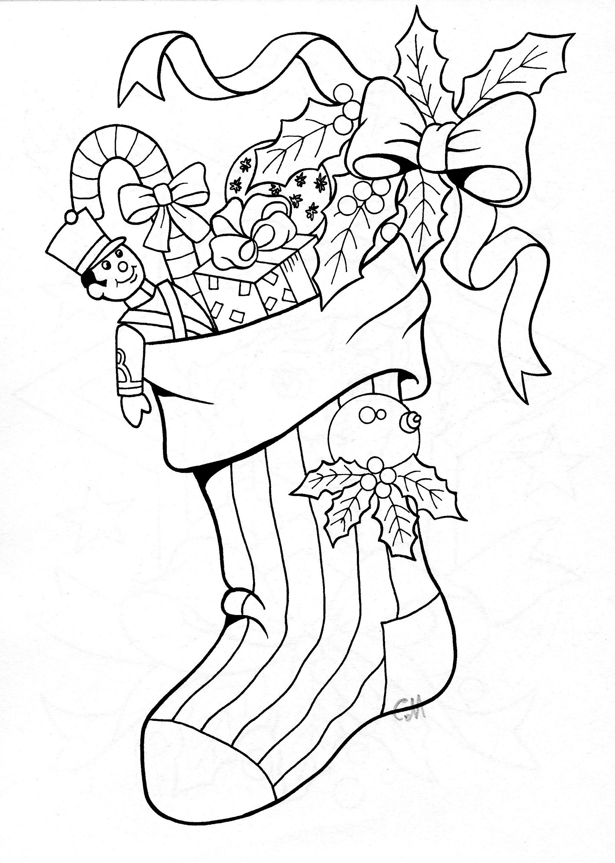 stocking 2 (With images) Coloring pages, Christmas