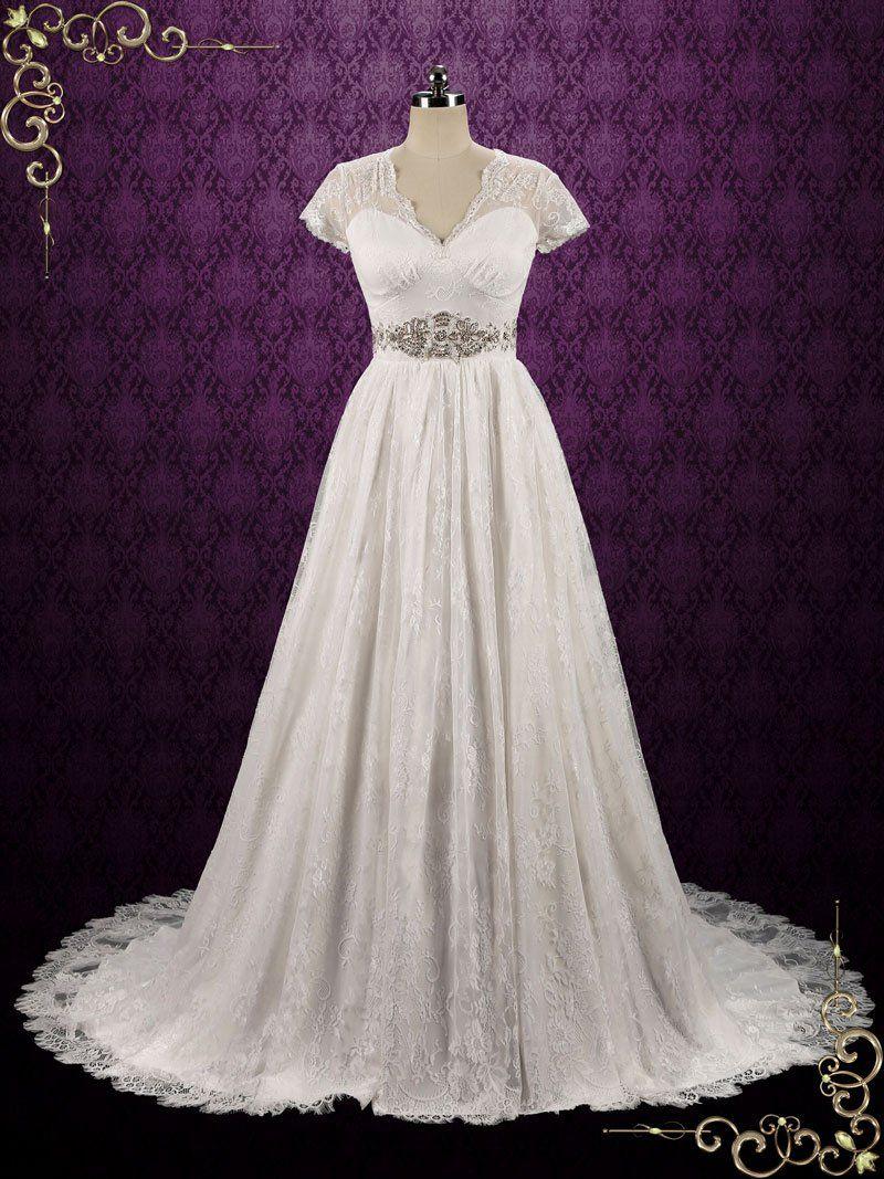 Boho vintage style lace wedding dress with short sleeves chelsea