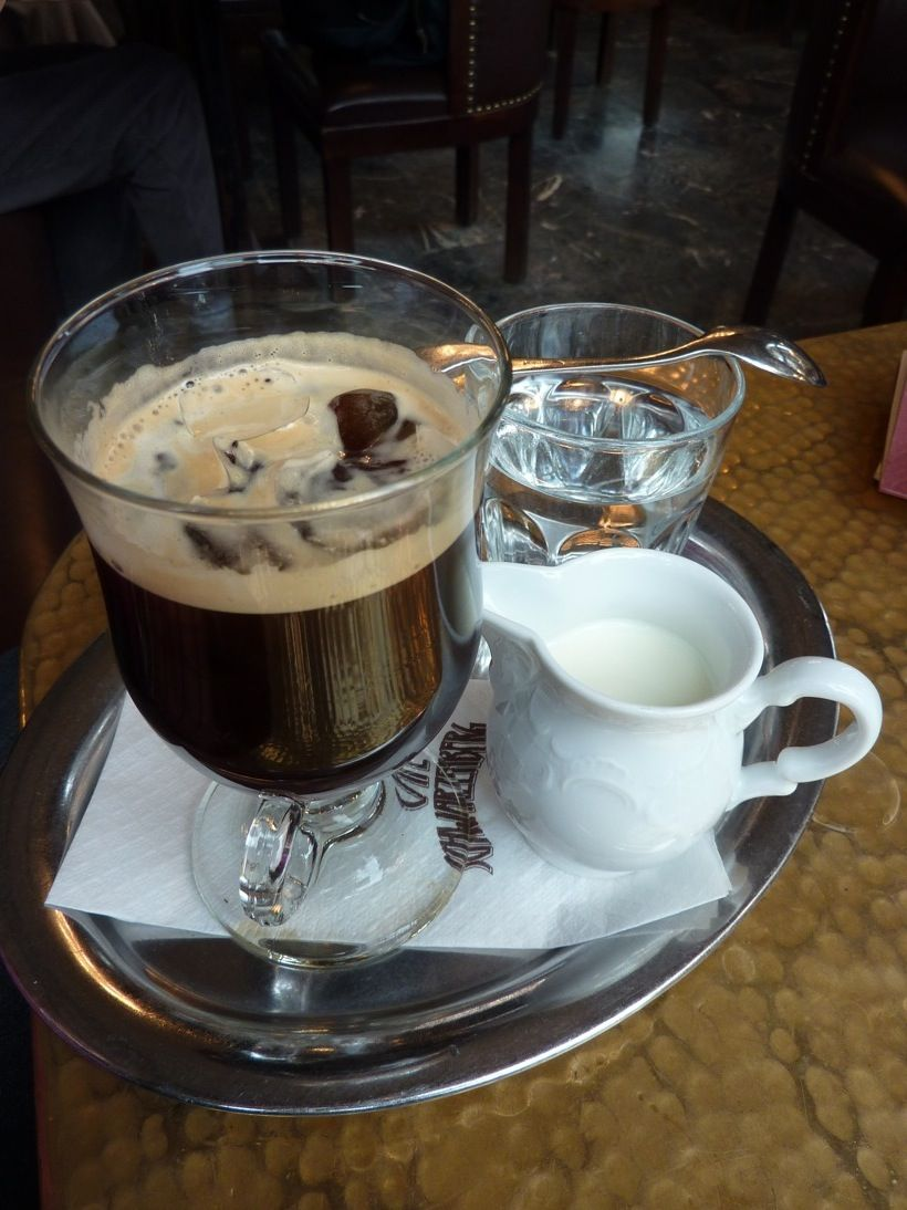 Mazagran (Town in Algeria and a special shape of coffee mug)  A double mocca, cooled down with ice  Maraschino (cherry liquor)  Served in a glass