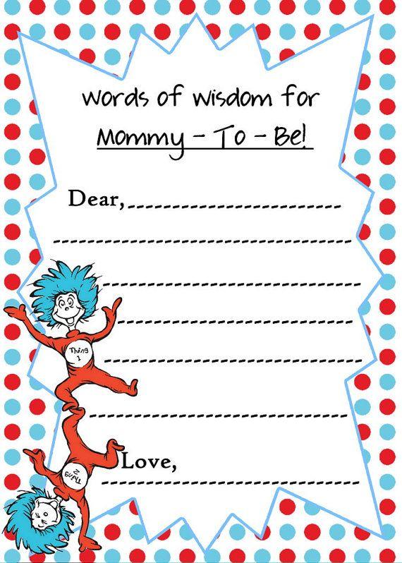 Dr Seuss Baby Shower Mommy Advice Cards / By Createphotocards4u
