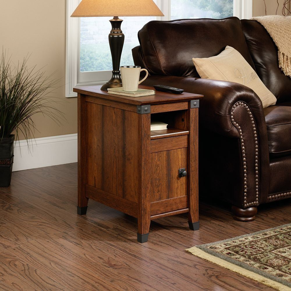 Classic Living Room With Sauder Carson Forge Side Table Washington Cherry Finish Materials And