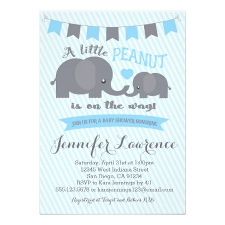 Blue Boy Peanut Elephant Baby Shower invitation - tap, personalize, buy right now!