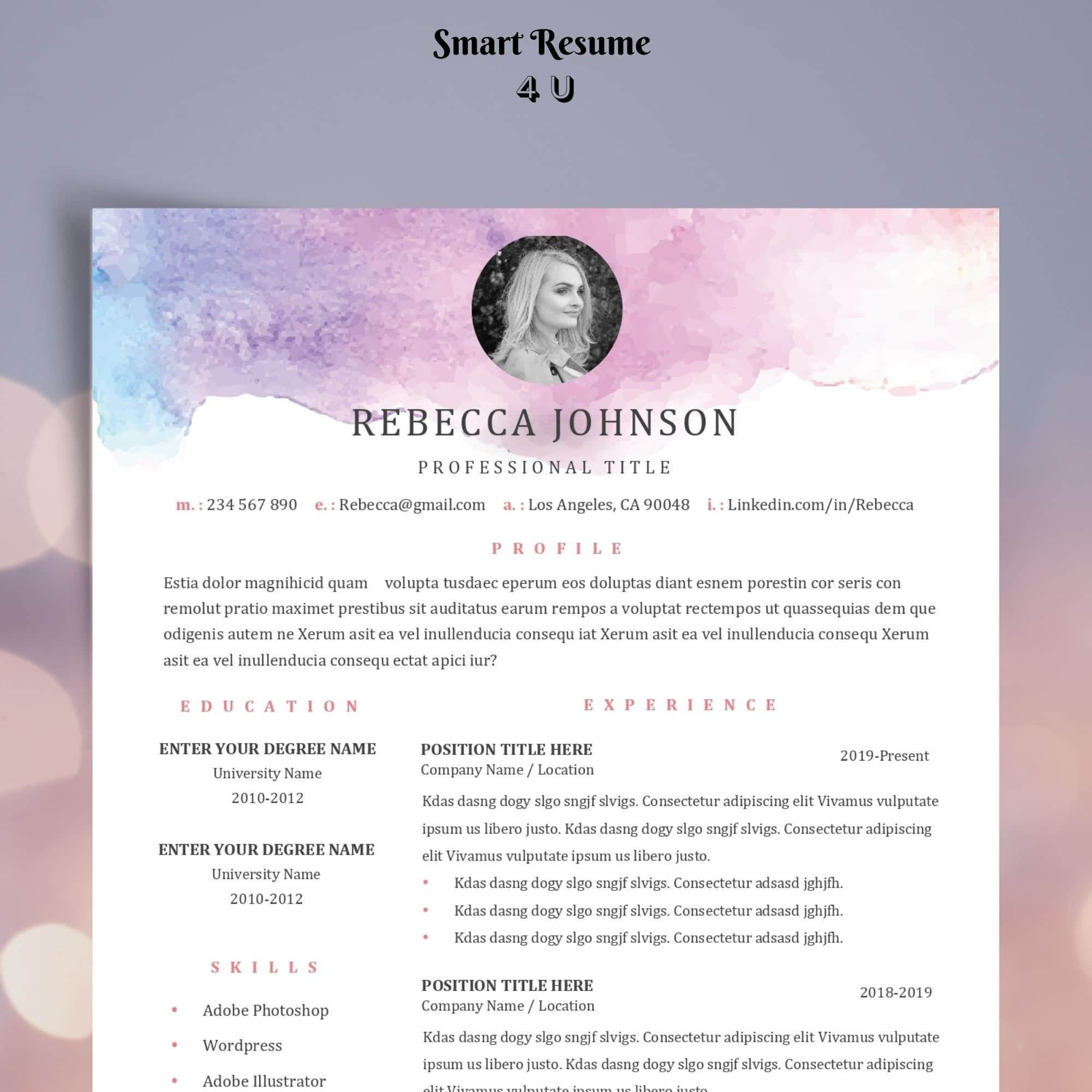Feminine Resume Template Word Mac Creative Cv Template Photo Resume For Marketing Retail Artist Fashion Designer Stylist Dancer Creative Cv Template Resume Template Word Resume Template