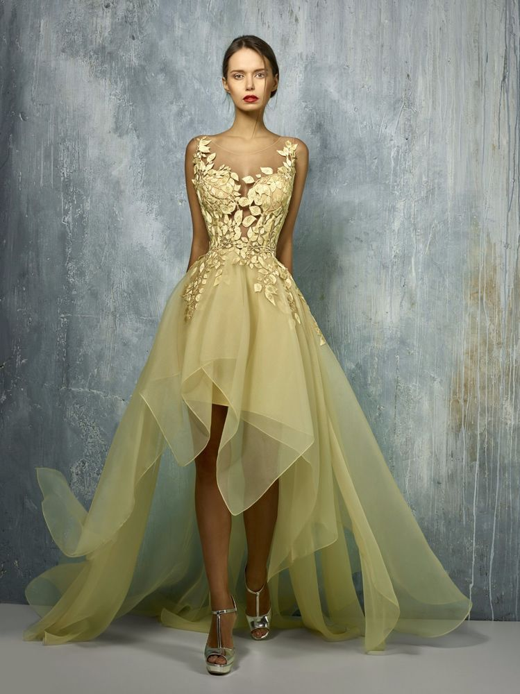 Nwt Gemy Maalouf Sleeveless Yellow Gold High Low Evening Gown Gemymaalouf Eveningdressalinedressgownhighlow Formal