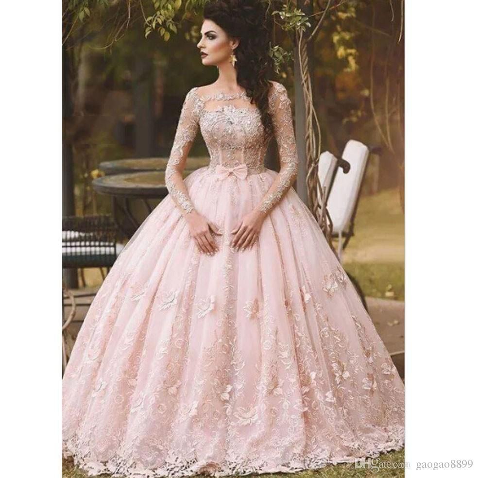 64e0720d398 2017 Blush Pink Long Sleeves Prom Dresses 3D floral Floor Length ...