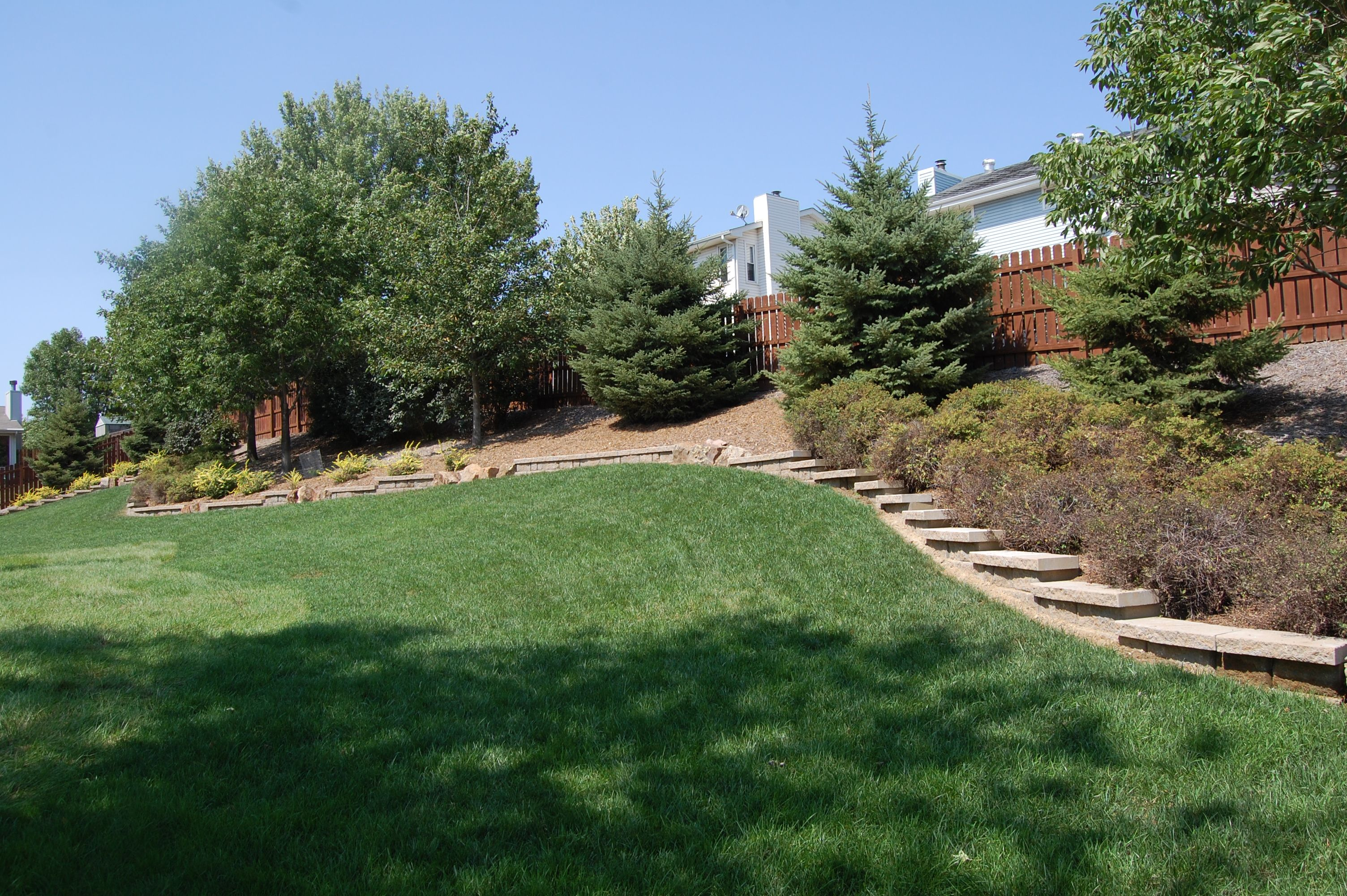 Backyard landscaping. Notice the rocks to add dimension to