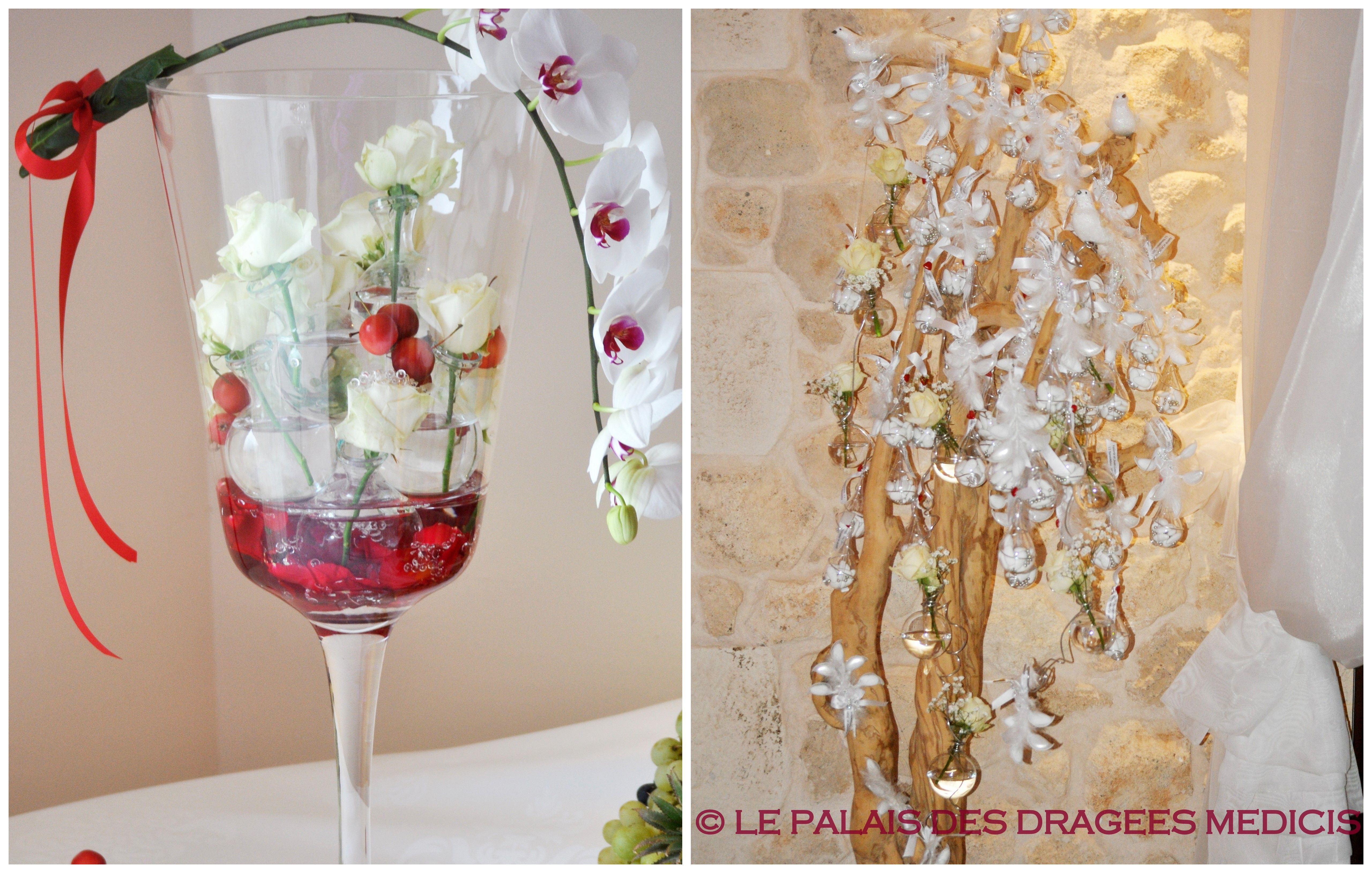 Arbre à dragées décor romantique, ballotin de dragées en forme de fleur pour un mariage chic