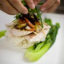 Pan Seared Halibut over Jasmine Rice and Bok Choy
